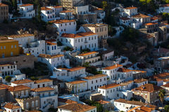 Hydra island, Greece, view of houses in the central part Royalty Free Stock Photos