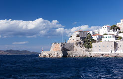 Hydra Island. Old fortifications in Hydra port, Greece Stock Photos