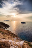 Hydra Island at sunset in Greece. North coast of Hydra Island at sunset in Greece stock photo