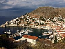 Hydra island. View of the marina on Hydra island, Greece Stock Photography