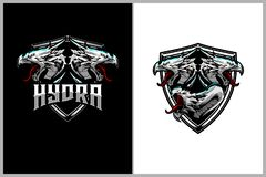 Hydra mythology Head vector badge logo template. For sport logo, game, and clothing company. can be use for print vector illustration