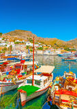 Hydra's pictorial port. The beautiful main port of Hydra island in Greece Royalty Free Stock Image