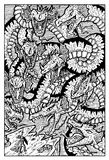 Hydra water monster serpent, hand drawn illustration. Hand drawn vector illustration. Engraved line art drawing, black and white doodle. See all fantasy Royalty Free Stock Image