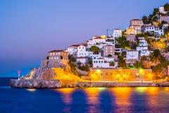 Hydrainsel auf einer Sommernacht in Griechenland Stockbilder