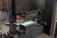 Hydraulic press in backsmith workshop royalty free stock image