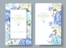 Hydrangea banners blue. Vector vertical banners with blue and white hydrangea flowers on white background. Floral design for cosmetics, perfume, beauty care vector illustration