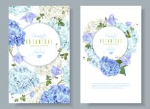 Hydrangea banners blue. Vector vertical banners with blue and white hydrangea flowers on white background. Floral design for cosmetics, perfume, beauty care royalty free illustration