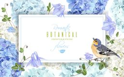 Hydrangea bird banner blue. Vector horizontal banner with blue, white hydrangea flowers and bird on white background. Floral design for cosmetics, perfume vector illustration