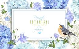 Hydrangea bird banner blue Royalty Free Stock Photo