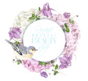 Hydrangea bird round logo. Vector round banner with hydrangea, bell flowers and cute bird on white. Floral tender design for cosmetics, perfume, beauty products Royalty Free Stock Photo