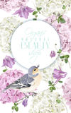 Hydrangea bird round logo. Vector vertical banner with hydrangea, bell flowers and cute bird on white. Floral design for cosmetics, perfume, beauty products Royalty Free Stock Photo