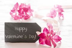 Hydrangea Blossom, Text Happy Valentines Day Stock Images