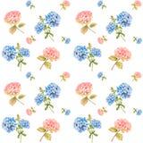 Hydrangea and blue jasmine - seamless pattern. Hydrangea flower in bloom - watercolor illustration seamless pattern vector illustration