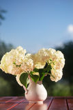 Hydrangea bouquet of flowers in a white jug. Flowers on a wooden table, are lit with the sunset sun against the background of trees and the blue sky Royalty Free Stock Images