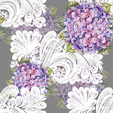 Hydrangea bouquet, white decoration, watercolor, pattern seamless Stock Image