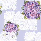 Hydrangea bouquet, white decoration, watercolor, pattern seamless Royalty Free Stock Photo