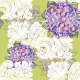 Hydrangea bouquet, white decoration, watercolor, pattern seamless Stock Photos