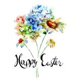 Hydrangea and Camomile flowers with title Happy Easter. Watercolor illustrationю Template for greeting card with calligraphy Stock Image