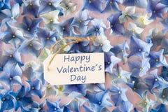 Hydrangea Flat Lay, Text Happy Valentines Day Stock Photography
