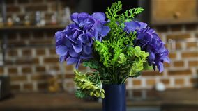 Hydrangea flower bouquet. Interior home design decor gimbal shot stock video footage