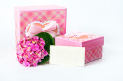 Hydrangea flower and gift box Stock Photography