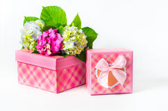 Hydrangea flowers and gift box Stock Photo