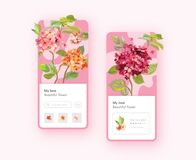 Free Hydrangea Flowers Mobile App Page Onboard Screen Template. Florist Shop, Wedding Decoration Royalty Free Stock Photo - 190434595