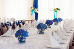 Hydrangea Flowers in Vases on Festive Table with Cutlery. Royalty Free Stock Photo