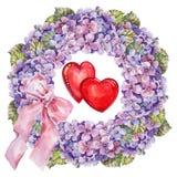 Hydrangea  flowers wreath , heart, bow watercolor Stock Photo