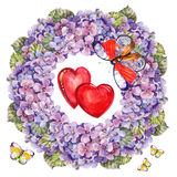Hydrangea  flowers wreath , heart, butterfly watercolor Stock Image