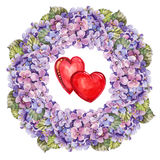 Hydrangea  flowers wreath , heart watercolor Royalty Free Stock Images