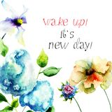 Hydrangea and Gerber flowers with with title wake up, it is new. Day, watercolor illustration Royalty Free Stock Image