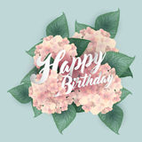 Hydrangea with Happy Birthday lettering Royalty Free Stock Images