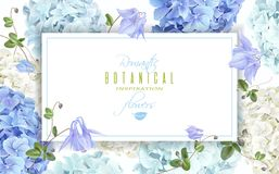Hydrangea horizontal banner blue. Vector horizontal banner with blue and white hydrangea flowers on white background. Floral design for cosmetics, perfume royalty free illustration