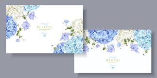 Hydrangea horizontal banners blue Royalty Free Stock Photography