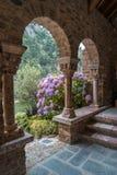 Hydrangea hortensia'sstruik en boog in de Romaanse Abdij van Heilige Martin royalty-vrije stock afbeelding