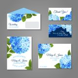 Hydrangea Invitations Set Stock Photo