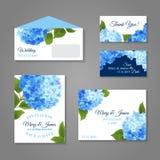 Hydrangea Invitations Set. Wedding invitation cards set with hydrangea flower bouquet isolated vector illustration Stock Photo