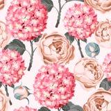 Hydrangea and peony seamless. Beautiful and colorful hydrangea and peony vector seamless background Stock Photo