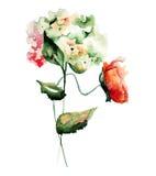 Hydrangea and Poppy flowers Royalty Free Stock Image
