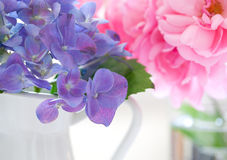 Hydrangea and rose petals Stock Photo