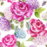 Hydrangea and roses. Beautiful watercolor vector pattern with hydrangea and roses Stock Images