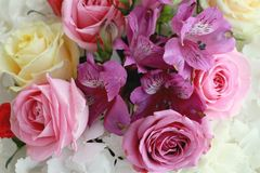 Hydrangea and roses flower bouquet Royalty Free Stock Images