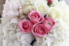 Hydrangea and roses flowers bouquet Stock Photos