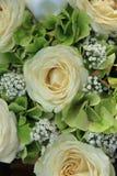 Hydrangea and roses bridal bouquet. Hydrangea and roses in a white bridal bouquet Stock Photography