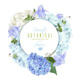 Hydrangea round blue. Vector round banner with blue and white hydrangea flowers on white background. Floral design for cosmetics, perfume, beauty care products vector illustration