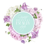 Hydrangea round logo. Vector natural cosmetic round banner with hydrangea and bell flowers on white background. Floral tender design for cosmetics, perfume Stock Photos