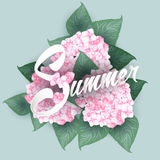 Hydrangea with Summer lettering Stock Image