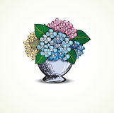 Hydrangea. In vase dodle style stock illustration