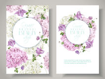 Hydrangea vertical round banners. Vector natural cosmetic banners with hydrangea and bell flowers on white background. Floral design for cosmetics, perfume Stock Photo